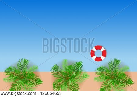 Top View Of The Sandy Beach. Palm Trees And Sea Waves In Flat Design. Vacation Or Travel Concept Vec