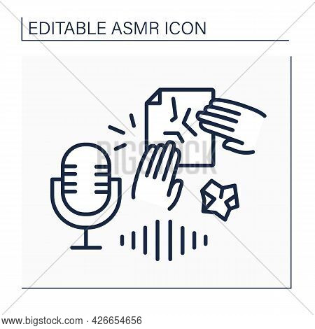 Asmr Line Icon. Paper Crinkles, Crumpling, Tearing. Internet Trend Concept. Isolated Vector Illustra