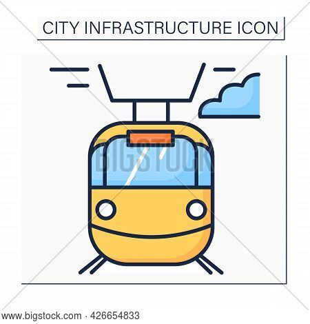 Tram Color Icon. Transport Connected To Electrical Lines. Fast Electric Transportation. Outline Draw