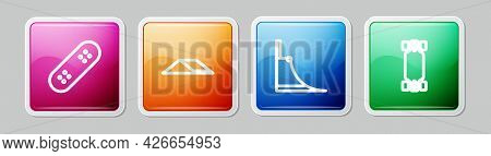 Set Line Skateboard, Park, And Longboard Or Skateboard. Colorful Square Button. Vector