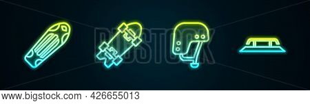 Set Line Skateboard Deck, Longboard Or Skateboard, Helmet And Stairs With Rail. Glowing Neon Icon. V