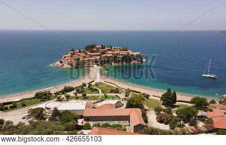 Aerial View On Beautiful Sveti Stefan Island In Budva, Montenegro