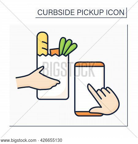 Application Color Icon.tracking Delivery. Curbside Pickup Mobile App. Online Ordering Products From