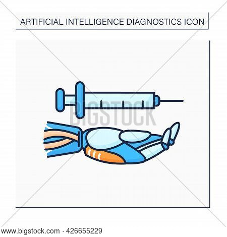 Ai In Healthcare Color Icon. Digital Technology In Medicine. Hand Keeps Injections Tool. Medical Dat