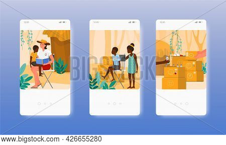 Assistance For Third World Developing Countries. Mobile App Screens, Vector Website Banner Template.