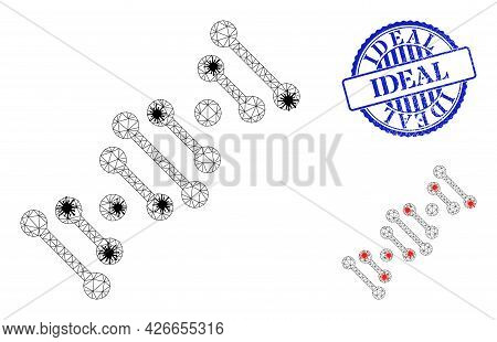 Mesh Polygonal Genome Code Icons Illustration In Outbreak Style, And Distress Blue Round Ideal Badge