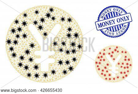 Mesh Polygonal Yen Coin Symbols Illustration In Outbreak Style, And Grunge Blue Round Money Only Sta