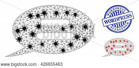 Mesh Polygonal Text Message Symbols Illustration With Outbreak Style, And Distress Blue Round Wordpr