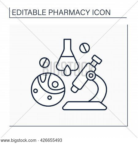 Biopharmaceutical Industry Line Icon. Biological Medical Product. Pharmaceutical Drug Product. Resea