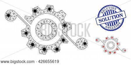 Mesh Polygonal Gear Solution Symbols Illustration In Outbreak Style, And Rubber Blue Round Solution
