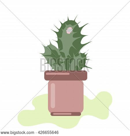 Indoor Plant In A Pot, Potted Cactus For Interior Decoration Vector Illustration Isolated On White