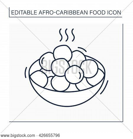 Afro-caribbean Food Line Icon. Puff-puff.deep Fried Dough.yeast Dough, Shaped Into Ball.local Food C