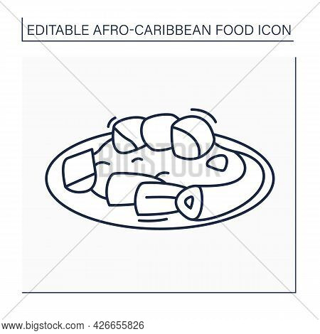 Afro-caribbean Food Line Icon. Jollof Oxtail. Aromatic, Slow-cooked Dish. Local Food Concept. Isolat