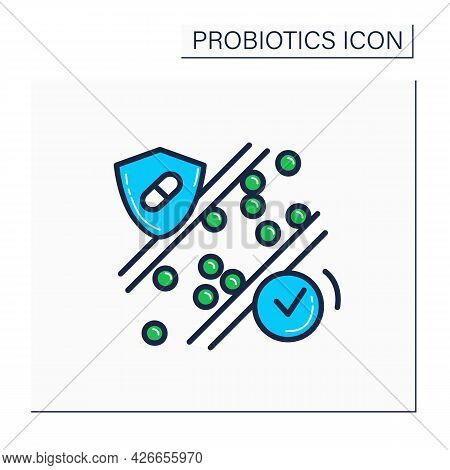 Probiotics Color Icon. Normalization Of Cholesterol.medicines For High Blood Pressure, Heart Attack,