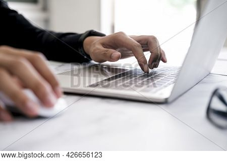 Closeup Hand Coding Programing Computer Software. Using Online Connect Technology For Business Or Ed