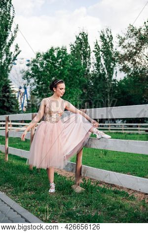 A Young Elegant Ballerina Has Lifted Her Foot On The Wooden Board Of The Fence Of The Horse Pen In T