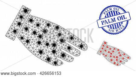 Mesh Polygonal Hand Palm Symbols Illustration In Outbreak Style, And Rubber Blue Round Palm Oil Stam