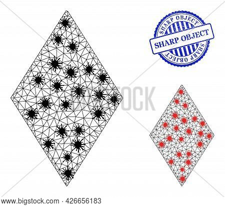 Mesh Polygonal Rhombus Symbols Illustration In Infection Style, And Distress Blue Round Sharp Object