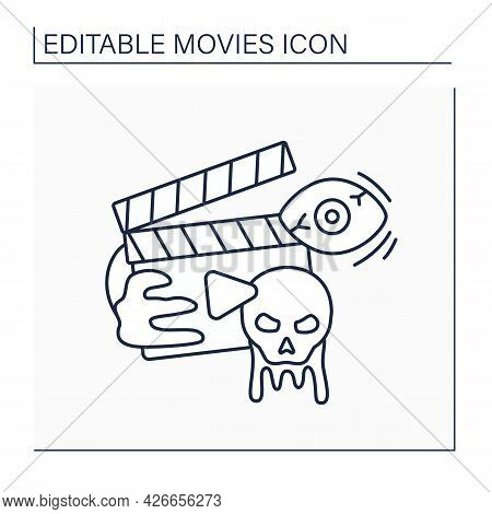 Horror Movie Line Icon. Frightening Or Unnatural Actions. Monsters And Characters With Supernatural