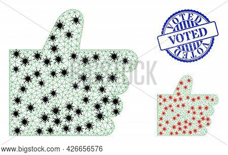Mesh Polygonal Thumb Up Icons Illustration Designed Using Lockdown Style, And Textured Blue Round Vo