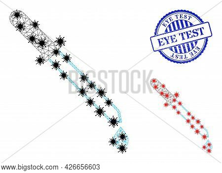 Mesh Polygonal Pipette Symbols Illustration With Lockdown Style, And Scratched Blue Round Eye Test B