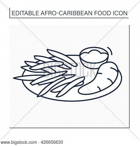 Afro-caribbean Food Line Icon.boiled Ghanaian Yarn. Sliced Potatoes, Yams. Sauce Containing Tomatoes
