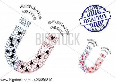 Mesh Polygonal Magnet Field Icons Illustration With Infection Style, And Textured Blue Round Healthy
