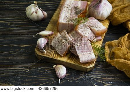 Lard, Garlic On Wooden Background Traditional, Meal, Food