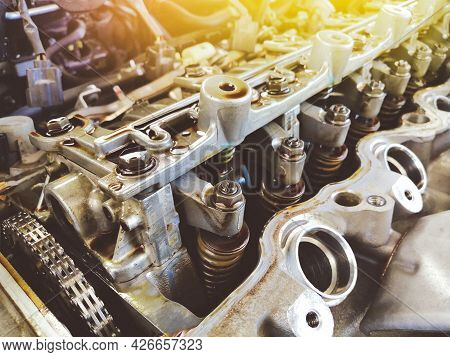 Adjusting Nuts And Valve Spring Of The Car Engine Valve Is Open For Adjustment Level In The Repair G