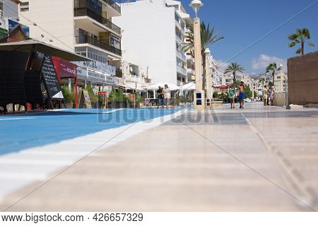 Altea, Alicante Spain- August August 24 2016; Pedestrian Promenade Leading Past Cafes And Bars To Be