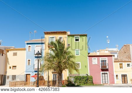 Iconic Pastel Colored Homes And Apartments At La Vila Joiosa, Alicante Spain