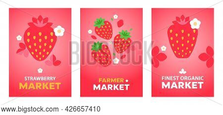 Strawberry. Minimal Style Red Strawberry Posters. Abstract Geometric Fruits And Flowers On Red Backg