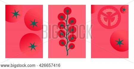 Tomatoes Cherry. Minimal Style Red Tomato Posters. Abstract Geometric Vegetables On Red Background.