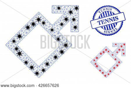 Mesh Polygonal Male Symbol Icons Illustration In Infection Style, And Distress Blue Round Tennis Sta