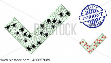 Mesh Polygonal Okay Symbols Illustration In Outbreak Style, And Distress Blue Round Correct Badge. M