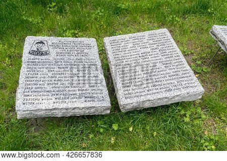 Zielona Gora, Poland - June 1, 2021: Plaque To Makusyny, A Scout Tribe Named After Kornel Makuszynsk