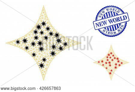 Mesh Polygonal Space Star Icons Illustration In Outbreak Style, And Distress Blue Round New World St
