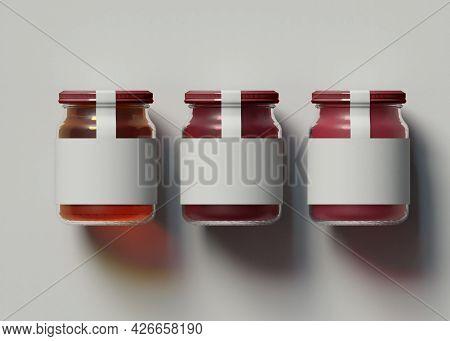 3d Illustration. Mockup Of Three Jam Jars