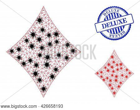 Mesh Polygonal Playing Card Diamond Suit Icons Illustration In Outbreak Style, And Textured Blue Rou
