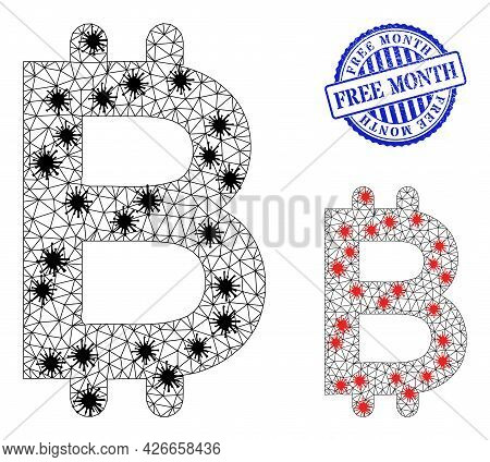 Mesh Polygonal Bitcoin Symbols Illustration In Lockdown Style, And Scratched Blue Round Free Month B