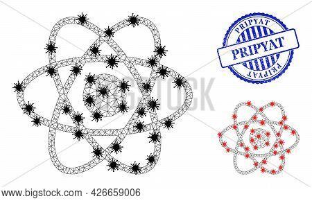 Mesh Polygonal Atom Icons Illustration Designed Using Lockdown Style, And Textured Blue Round Pripya
