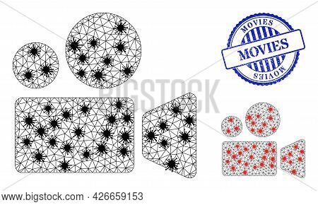 Mesh Polygonal Cinema Camera Icons Illustration With Lockdown Style, And Rubber Blue Round Movies Ba