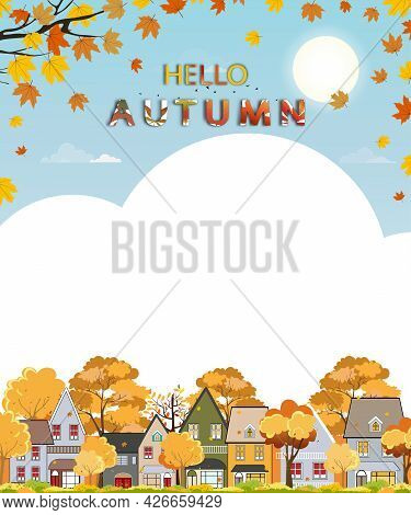 Autumn Landscape In City With Copy Space, Vector Illustration Panorama View Cartoon Fall Season In T
