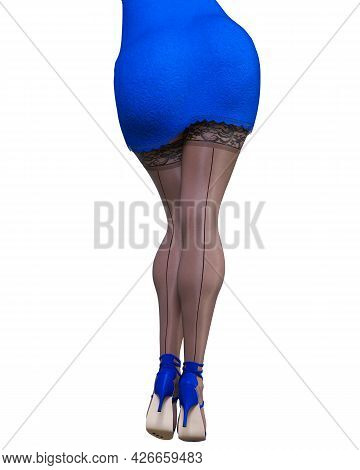 Beautiful Woman Blue Short Evening Mini Dress And Black Stockings.summer Clothes Collection.bright M