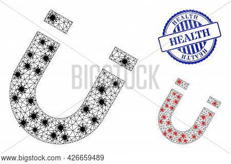 Mesh Polygonal Horseshoe Magnet Symbols Illustration With Infection Style, And Distress Blue Round H