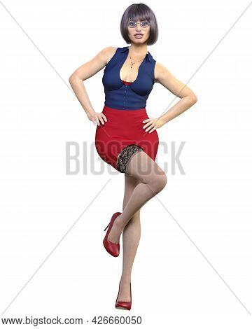 Sexy Secretary In Mini Skirt And Stocking.