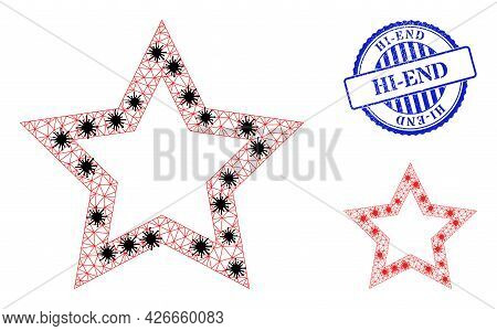 Mesh Polygonal Contour Star Symbols Illustration With Outbreak Style, And Textured Blue Round Hi-end