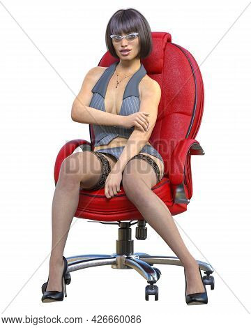 Sexy Secretary In Mini Skirt And Stocking In Chair.