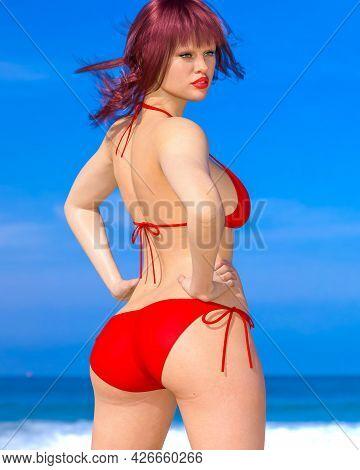 Woman Swimsuit On Beach.
