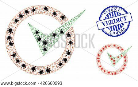 Mesh Polygonal Checkbox Circle Symbols Illustration With Outbreak Style, And Distress Blue Round Ver